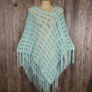 Mint Green Hand Crochet Poncho Sweater Boho Hippie